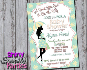 Printable Pregnant Silhouette Baby Shower Invitation (Digital File Only)-Digital Download-Forever Fab Boutique