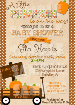 Printable Pumpkin Baby Shower Invitation - Fall Baby Shower Invitation (Digital File Only)-Digital Download-Forever Fab Boutique