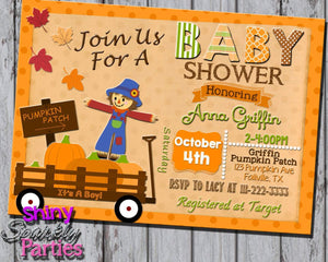Printable Pumpkin Patch Baby Shower Invitation (Digital File Only)-Digital Download-Forever Fab Boutique