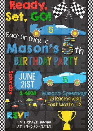 Printable Race Car Birthday Invitation (Digital File Only)-Digital Download-Forever Fab Boutique