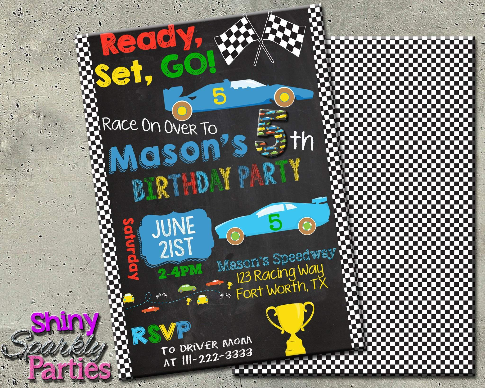 Printable Race Car Birthday Invitation Digital File Only Download Forever Fab