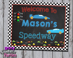 Printable Race Car Birthday Party Sign (Digital File Only)-Digital Download-Forever Fab Boutique