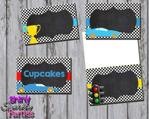Printable Race Car Food Tent Signs Editable (Digital File Only)-Forever Fab Boutique