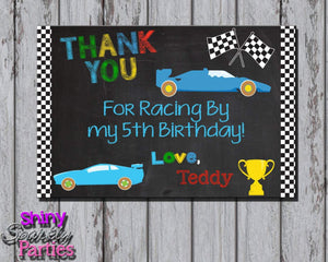 Printable Race Card Birthday Thank You Card (Digital File Only)-Digital Download-Forever Fab Boutique