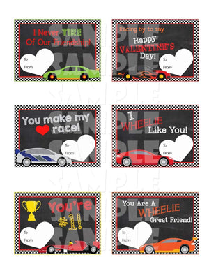 Printable Race Race Valentine Cards (Digital File Only)-Forever Fab Boutique