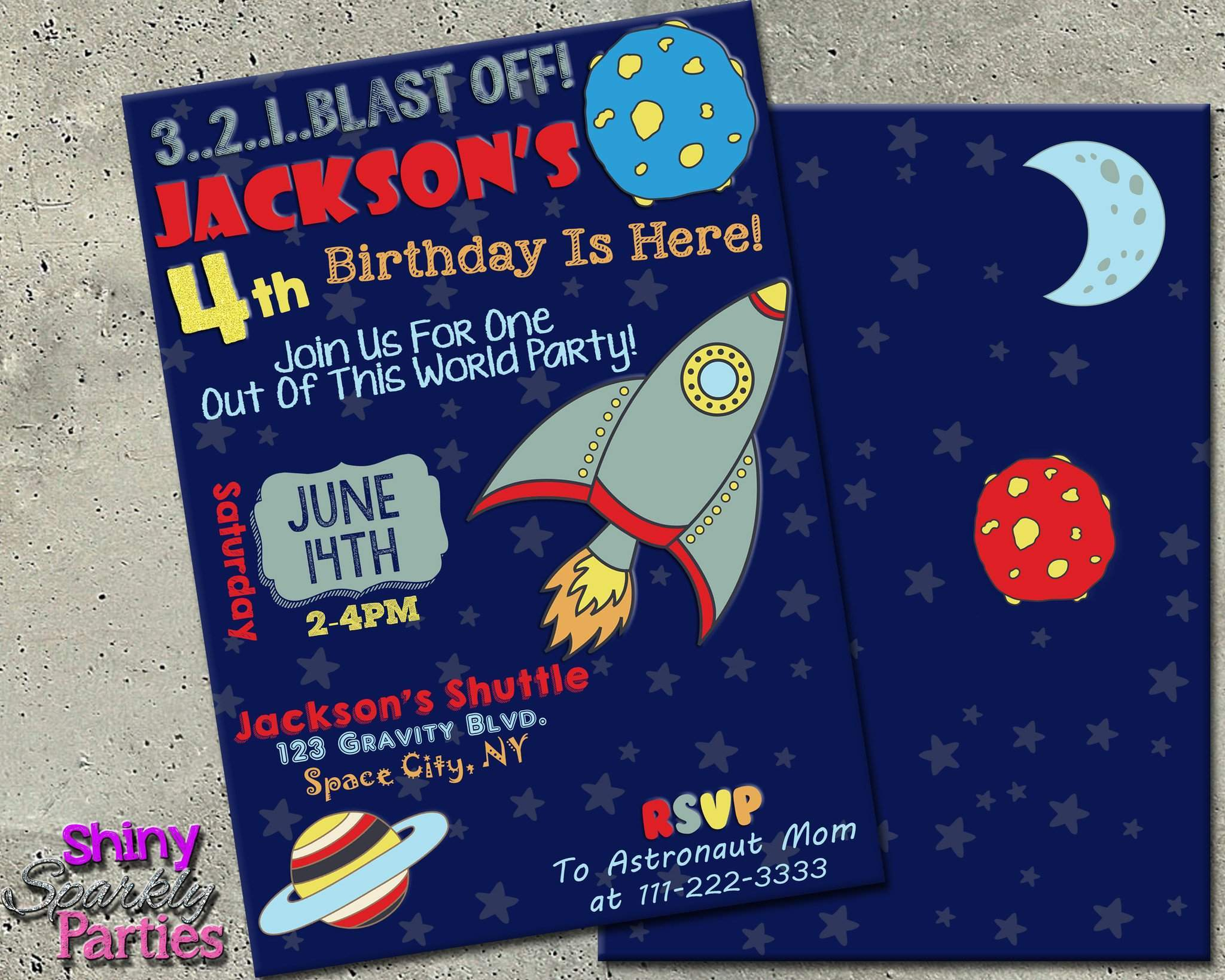 Printable Rocket Birthday Invitation