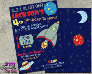 Printable Rocket Birthday Invitation - Outer Space Birthday Invitation (Digital File Only)-Digital Download-Forever Fab Boutique