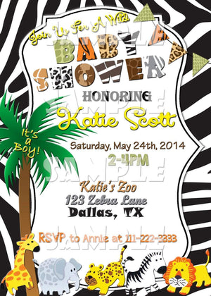 Printable Safari Baby Shower Invitation (Digital File Only)-Digital Download-Forever Fab Boutique