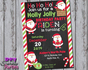 Printable Santa Birthday Party Invitation (Digital File Only)-Digital Download-Forever Fab Boutique