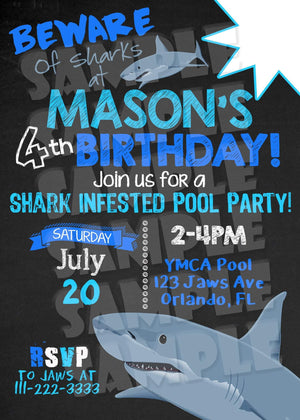 Printable Shark Pool Party Invitation (Digital File Only)-Digital Download, Printable File, Invitation-Forever Fab Boutique