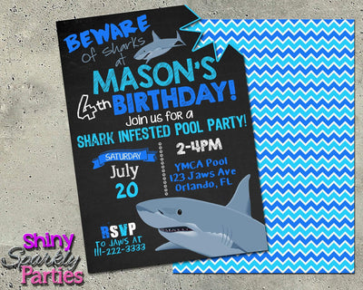 Shark Pool Party Birthday Invitation Forever Fab Boutique