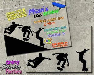 Printable Skateboarding Birthday Invitation-Digital Download-Forever Fab Boutique