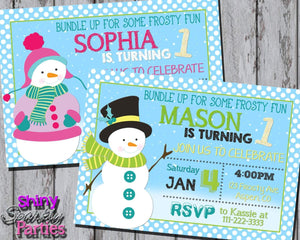 Printable Snowman Birthday Party Invitation (Digital File Only)-Digital Download-Forever Fab Boutique