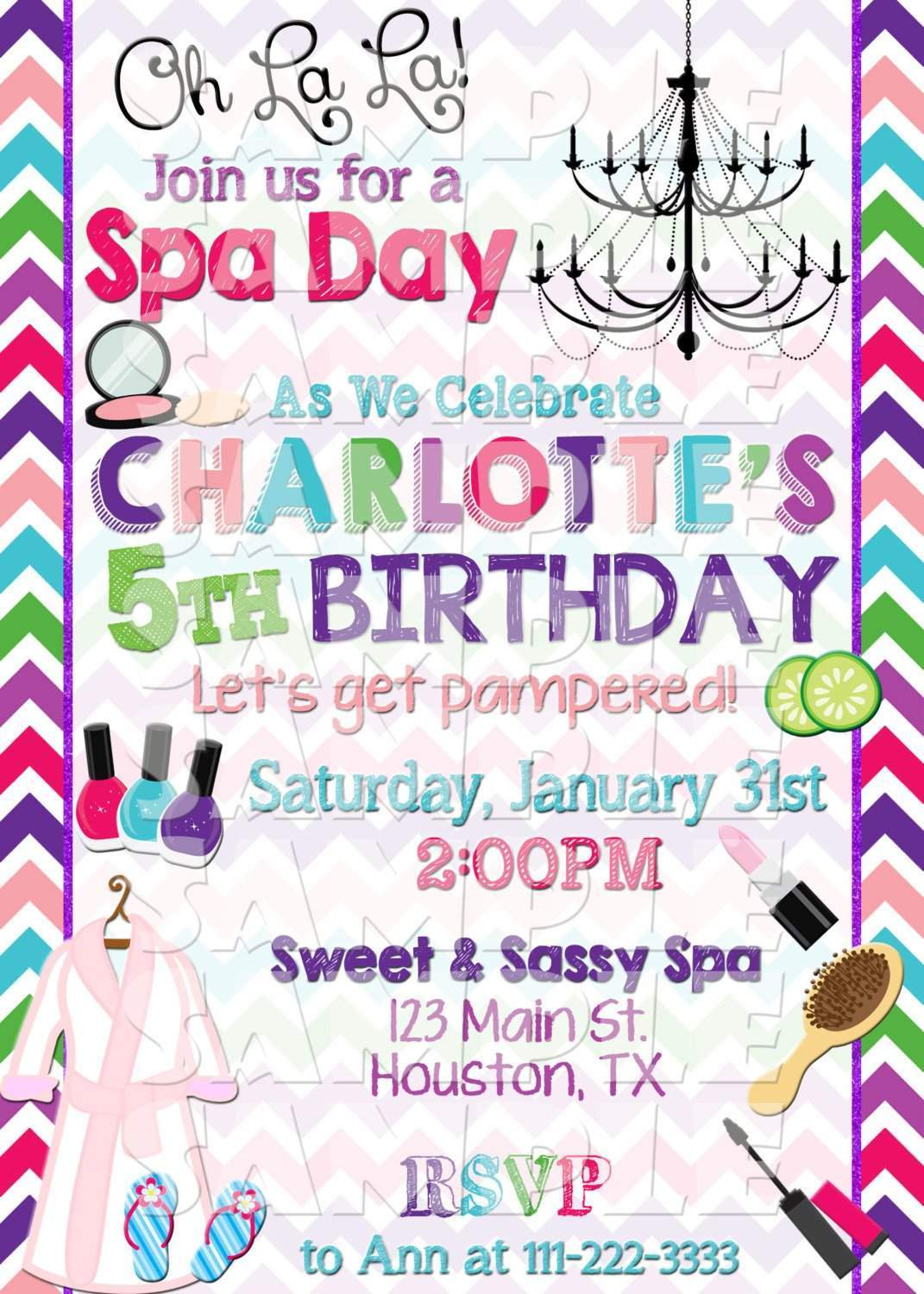 Spa Birthday Invitation - Forever Fab Boutique