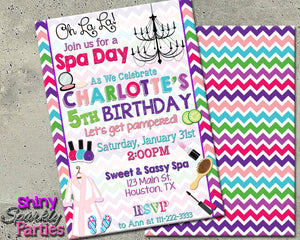 Printable Spa Birthday Invitation (Digital File Only)-Digital Download-Forever Fab Boutique