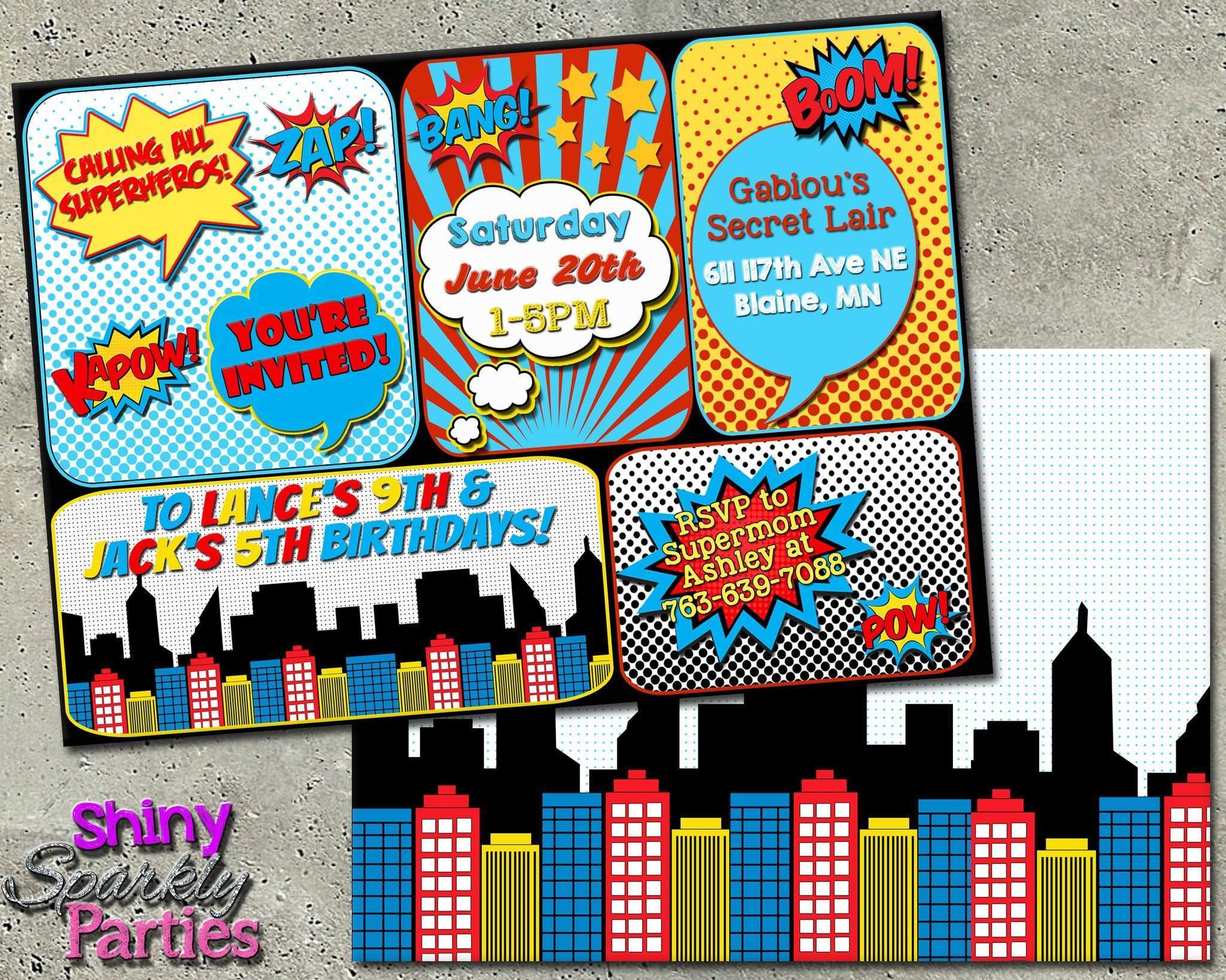 Printable Superhero Birthday Invitation Digital File Only Download Forever Fab Boutique