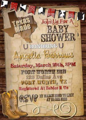 Printable Texas Made Baby Shower Invitation (Digital File Only)-Digital Download, Printable File, Invitation-Forever Fab Boutique
