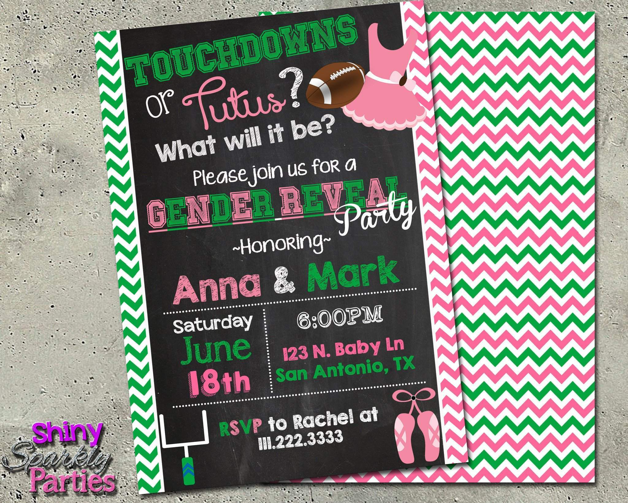 Touchdowns Or Tutus Gender Reveal Party Invitation Forever Fab