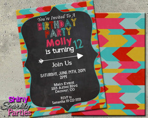Printable Tribal Print Birthday Invitation (Digital File Only)-Digital Download-Forever Fab Boutique