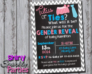 Printable Tutus Or Ties Gender Reveal Party Invitation (Digital File Only)-Digital Download-Forever Fab Boutique