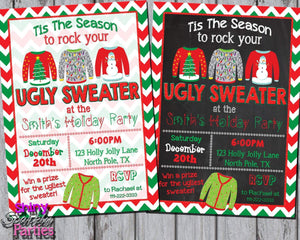 Printable Ugly Sweater Christmas Party Invitation (Digital File Only)-Digital Download-Forever Fab Boutique