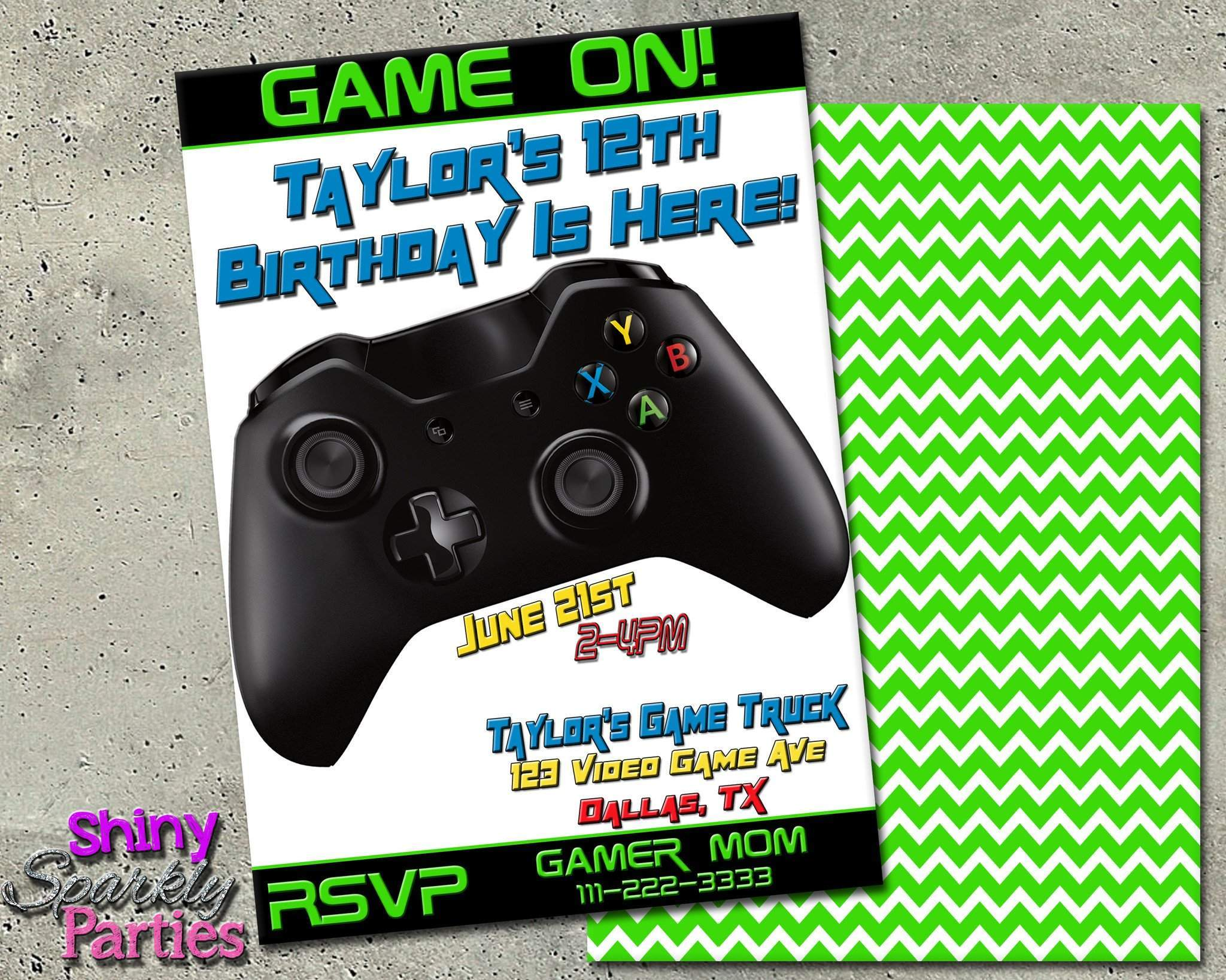 Printable Video Game Themed Birthday Invitation or Game Truck Party ...