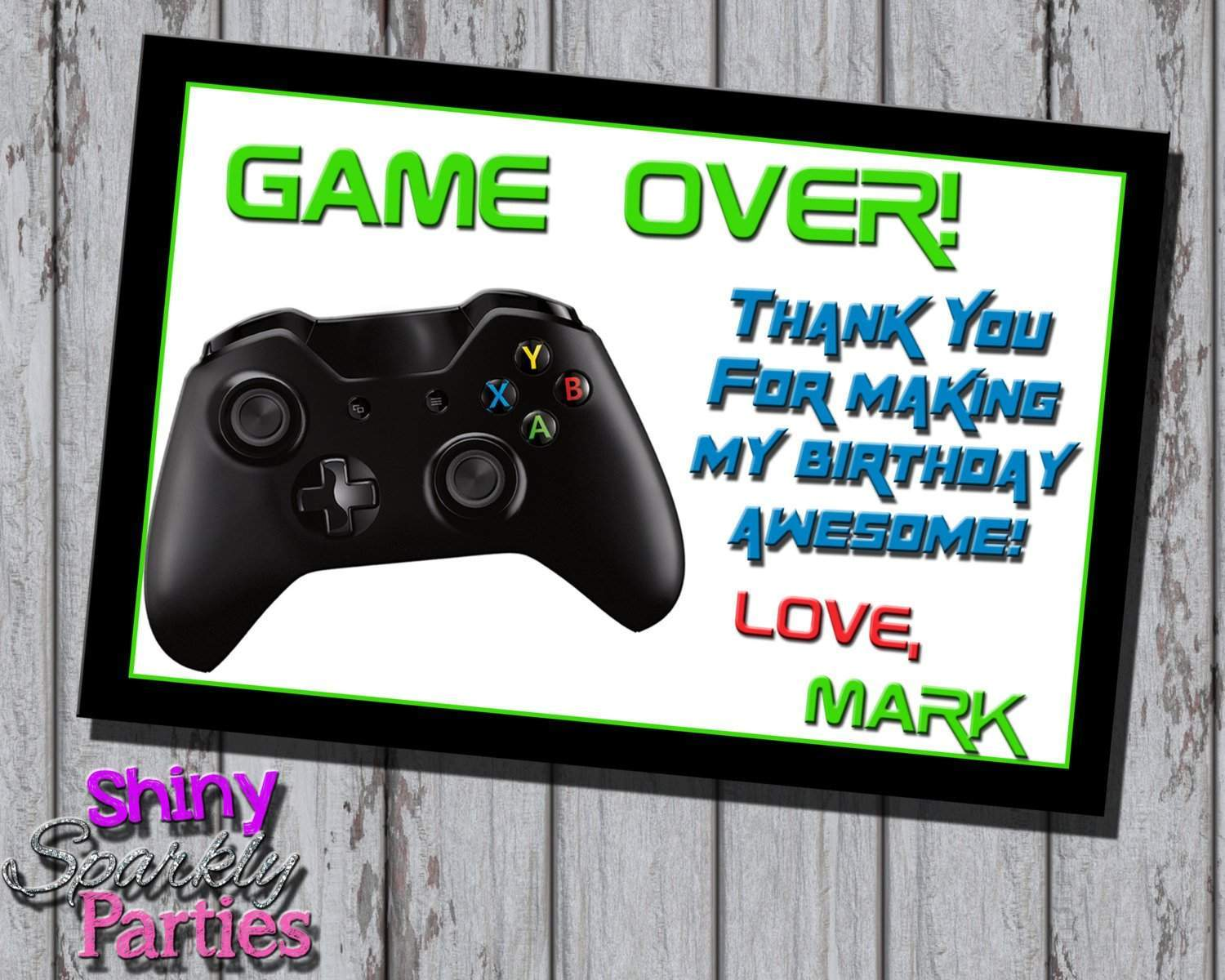 Printable Video Gaming Birthday Thank You Card Digital File Only Download