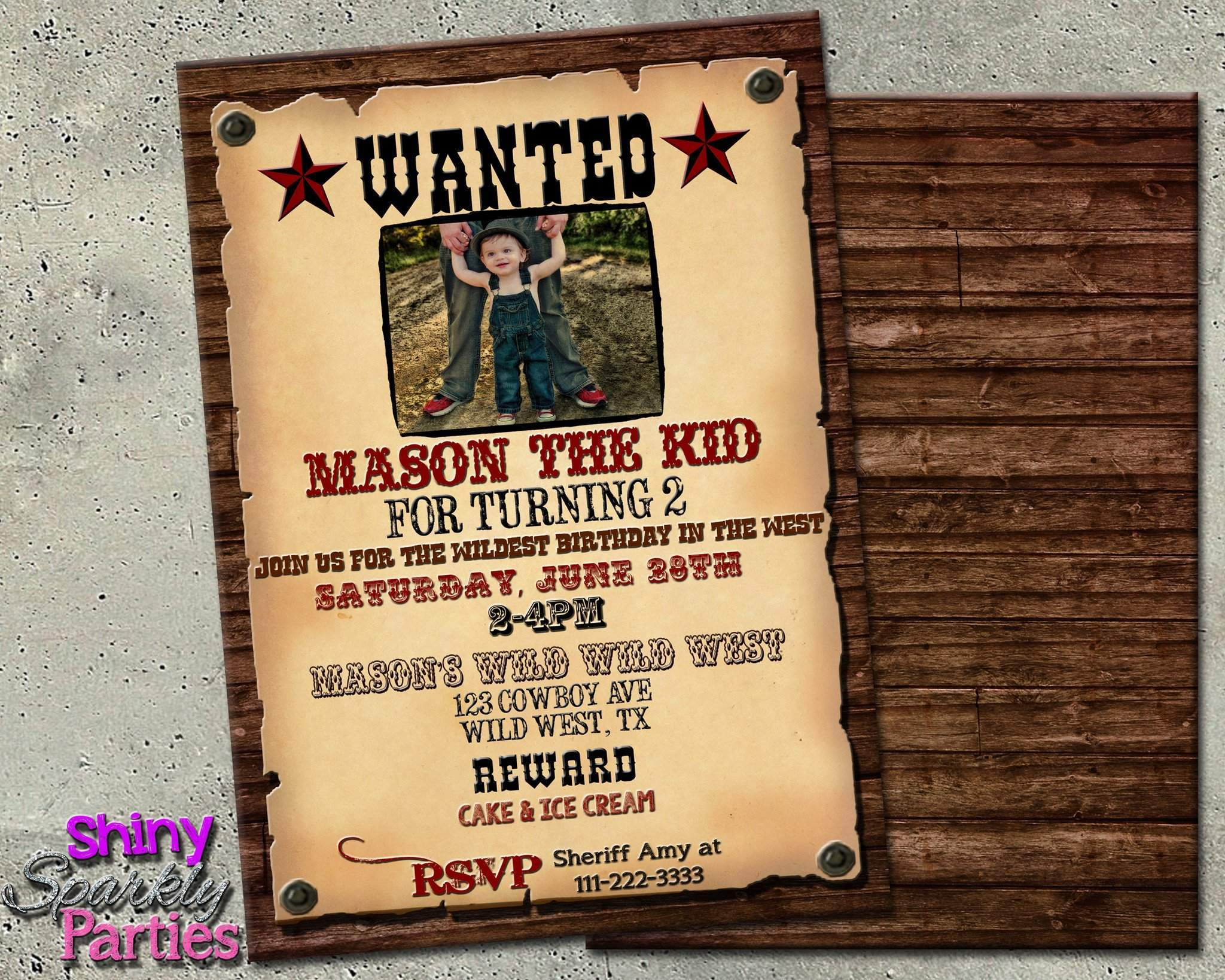 Western Wanted Poster Birthday Invitation Forever Fab Boutique