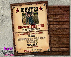 Printable Western Wanted Poster Birthday Invitation (Digital File Only)-Digital Download-Forever Fab Boutique