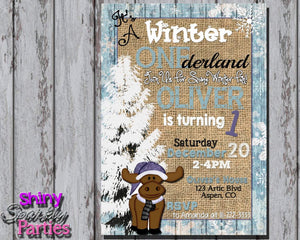 Printable Winter ONEderland Birthday Invitation (Digital File Only)-Digital Download-Forever Fab Boutique