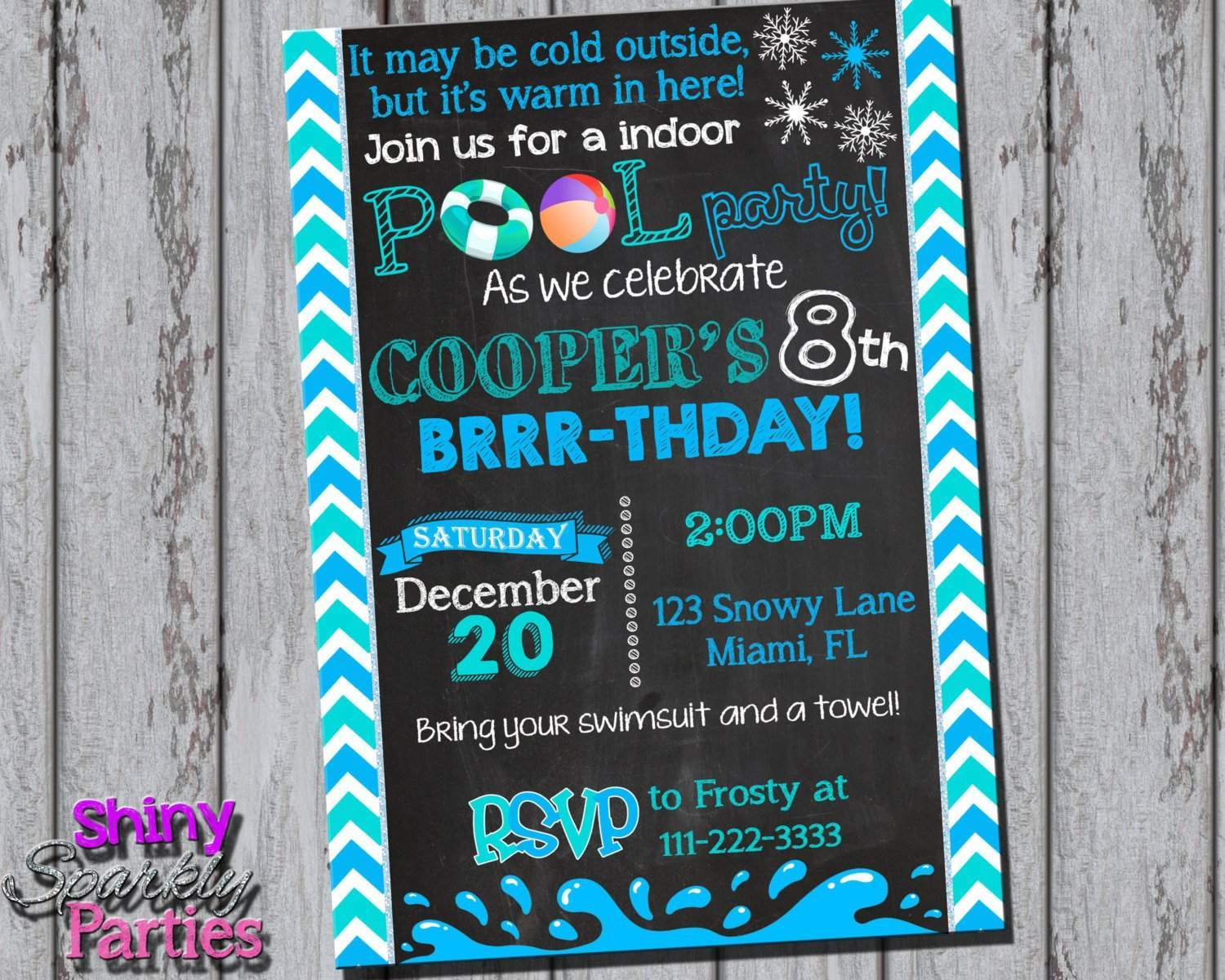 Winter Pool Party Invitation - Forever Fab Boutique