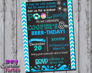 Printable Winter Pool Party Invitation (Digital File Only)-Digital Download-Forever Fab Boutique
