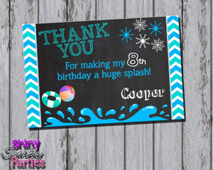 Printable Winter Pool Party Thank You Card (Digital File Only)-Digital Download-Forever Fab Boutique
