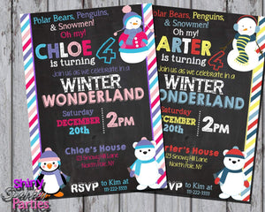 Printable Winter Wonderland Birthday Invitation (Digital File Only)-Digital Download-Forever Fab Boutique