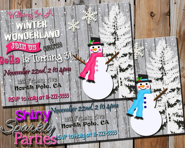 Printable Winter Wonderland Snowman Birthday Invitation (Digital File Invitation)-Digital Download-Forever Fab Boutique