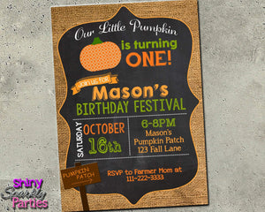 Pumpkin Birthday Invitation - Rustic Fall Burlap Invite Printable (Digital File Only)-Digital Download, Printable File, Invitation-Forever Fab Boutique