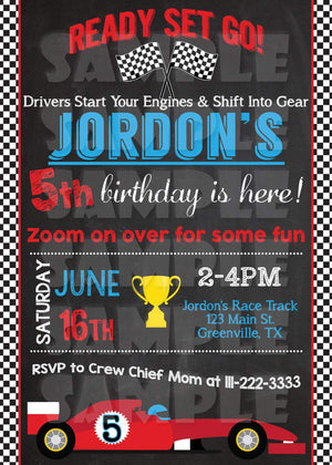 Race Car Birthday Invitation Printable (Digital File Only)-Digital Download, Printable File, Invitation-Forever Fab Boutique