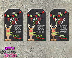 REINDEER FAVOR TAGS - Reindeer Gift Tags - Printable (Digital File Only)-Digital Download, Printable File-Forever Fab Boutique