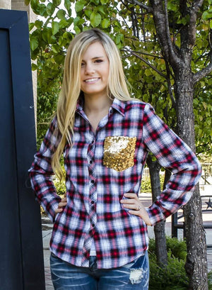 Sequins And Plaid Button Up Flannel Top-Top-Forever Fab Boutique
