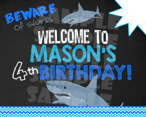 Shark Birthday Party Package - Printable (Digital Files Only)-Digital Download, Printable File, Party Package-Forever Fab Boutique