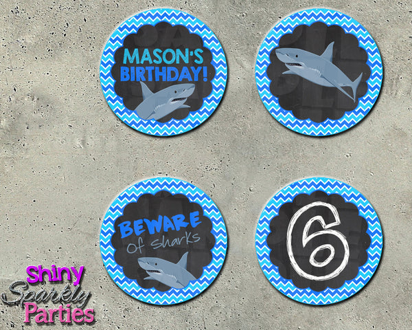 Shark Party Cupcake Toppers - Shark Party Circles - Printable (Digital File Only)-Digital Download, Printable File-Forever Fab Boutique