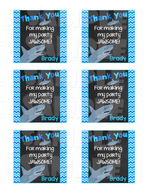 Shark Party Favor Tags - Printable (Digital File Only)-Digital Download, Printable File-Forever Fab Boutique