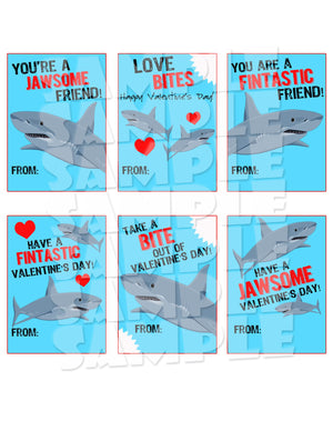 Shark Valentine Cards - Printable (Digital File Only)-Digital Download, Printable File, Instant Download-Forever Fab Boutique