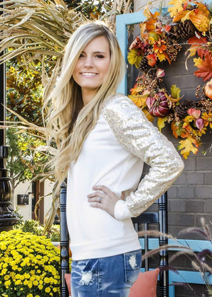 Shine On Sequin Top Ivory-Top-Forever Fab Boutique