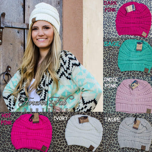 Slouchy Knit CC Beanies-Forever Fab Boutique