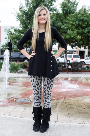 Snow Leopard Knit Leggings-Bottom-Forever Fab Boutique