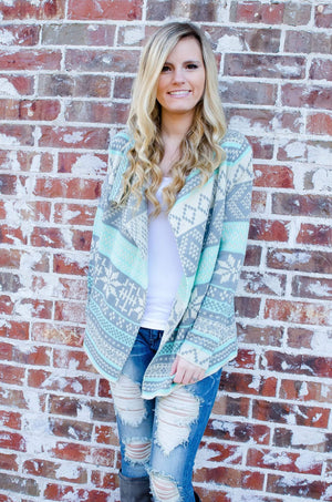 Snowed In Snowflake Cardigan Mint-Outerwear-Forever Fab Boutique