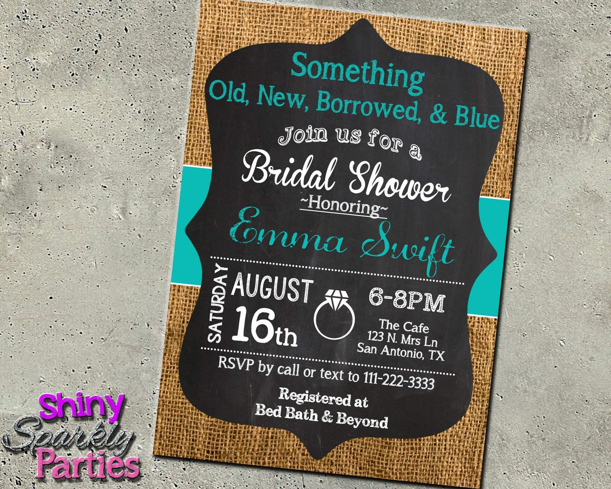 something old new borrowed blue bridal shower invitation printable digital file