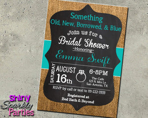 Something Old, New, Borrowed, & Blue Bridal Shower Invitation Printable (Digital File Only)-Digital Download, Printable File, Invitation-Forever Fab Boutique