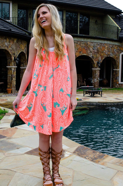 Sunny Days Neon Paisley Print Dress-Dress-Forever Fab Boutique